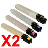 2 Lots of 4 Pack Compatible Ricoh Aficio MP-C2501 MP-C2551 Toner Cartridge Set
