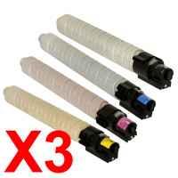 3 Lots of 4 Pack Compatible Ricoh Aficio MP-C2000 MP-C2500 MP-C3000 Toner Cartridge Set