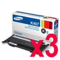 3 x Genuine Samsung CLP-320 CLP-325 CLX-3180 CLX-3185 Black Toner Cartridge CLT-K407S