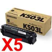 5 x Genuine Samsung SL-C3010 SL-C3060 Black Toner Cartridge CLT-K503L