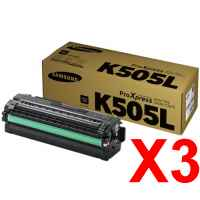3 x Genuine Samsung SL-C2620 SL-C2670 SL-C2680 Black Toner Cartridge High Yield CLT-K505L