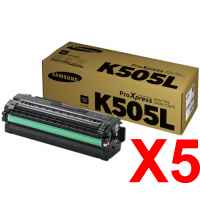 5 x Genuine Samsung SL-C2620 SL-C2670 SL-C2680 Black Toner Cartridge High Yield CLT-K505L