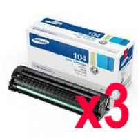 3 x Genuine Samsung ML-1660 ML-1665 ML-1860 ML-1865W SCX-3200 Toner Cartridge MLT-D104S