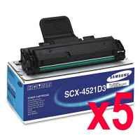 5 x Genuine Samsung SCX-4521 SCX-4521F Toner Cartridge SCX-4521D3