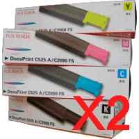 2 Lots of 4 Pack Genuine Fuji Xerox DocuPrint C525A Toner Cartridge Set