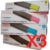 3 Lots of 4 Pack Genuine Fuji Xerox DocuPrint C525A Toner Cartridge Set